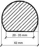 DŘEVĚNÉ MADLO ZÁBRADLÍ NA SCHODY KRUHOVÉ BUK KULATÉ PRŮMĚR 42 mm S PLOCHOU, BEZ DRÁŽKY. NENAPOJOVANÉ