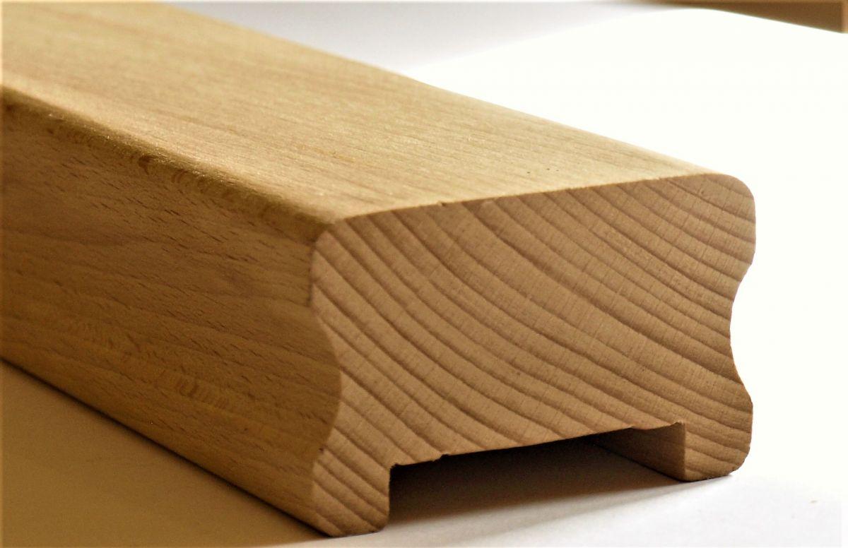 Dřevěné madlo zábradlí schodišťové na zeď na schody. BUK 5,5 x 4 cm s drážkou