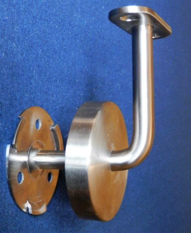 Držák, konzole madla schodišťového zábradlí na zeď s rovnou plochou a krycí rozetou na šrouby pro uchycení na zeď.
